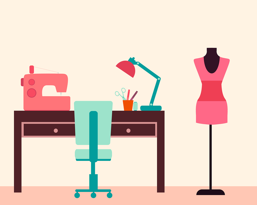 Workplace seamstress. Table and sewing machine. Vector illustrat